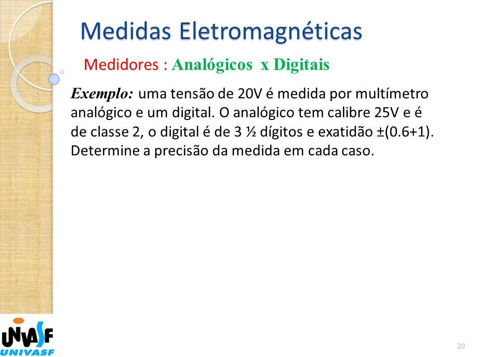 Medidas Eletromagnéticas Medidores : Analógicos x Digitais 20 Exemplo: uma tensão de 20V é medida por multímetro analógico e um digital. O analógico t