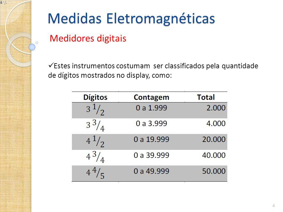 Medidas Eletromagnéticas Medidores digitais 4  Estes instrumentos costumam ser classificados pela quantidade de dígitos mostrados no display, como: