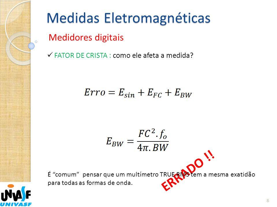 """Medidas Eletromagnéticas Medidores digitais 8  FATOR DE CRISTA : como ele afeta a medida? ERRADO !! É """"comum"""" pensar que um multímetro TRUE RMS tem a"""