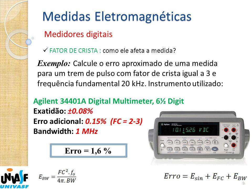 Medidas Eletromagnéticas Medidores digitais 9  FATOR DE CRISTA : como ele afeta a medida? Exemplo: Calcule o erro aproximado de uma medida para um tr