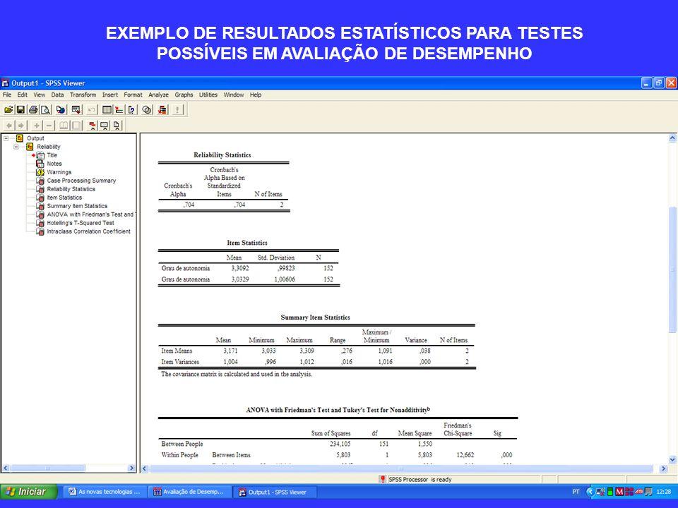 EXEMPLO DE RESULTADOS ESTATÍSTICOS PARA TESTES POSSÍVEIS EM AVALIAÇÃO DE DESEMPENHO