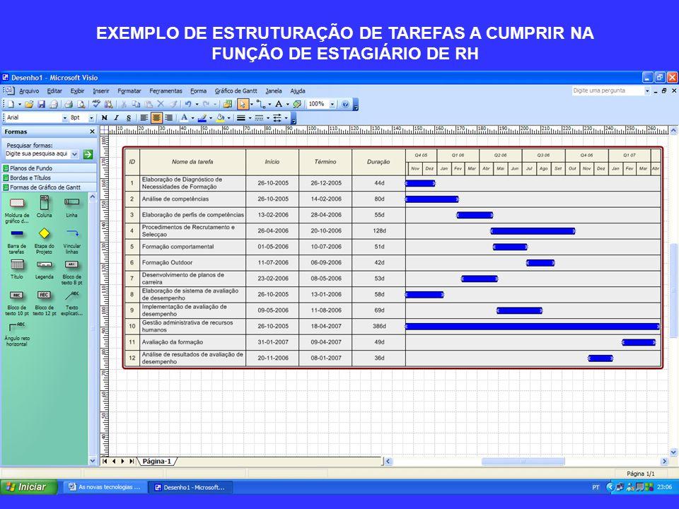 EXEMPLO DE ESTRUTURAÇÃO DE TAREFAS A CUMPRIR NA FUNÇÃO DE ESTAGIÁRIO DE RH