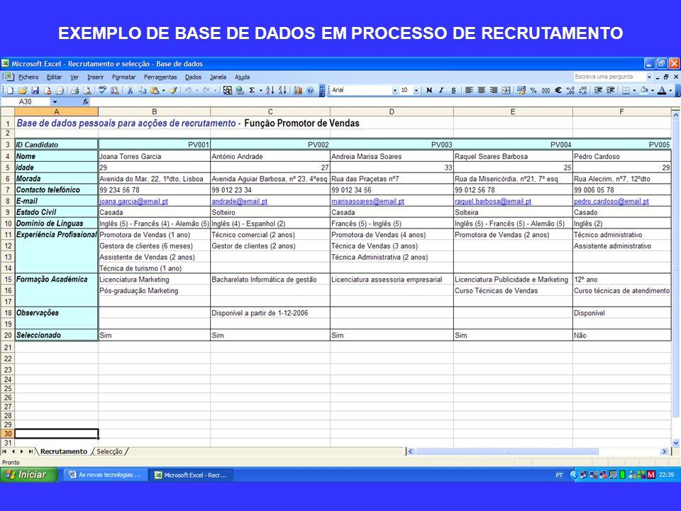 EXEMPLO DE BASE DE DADOS EM PROCESSO DE SELECÇÃO