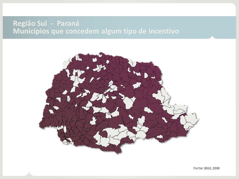 Região Sul - Paraná Municípios que concedem algum tipo de incentivo