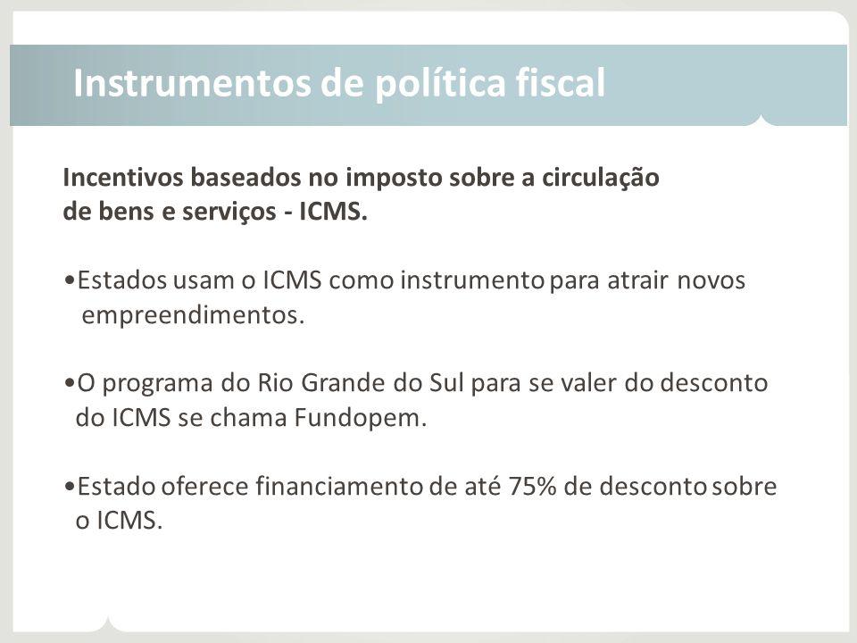 Incentivos baseados no imposto sobre a circulação de bens e serviços - ICMS. •Estados usam o ICMS como instrumento para atrair novos empreendimentos.