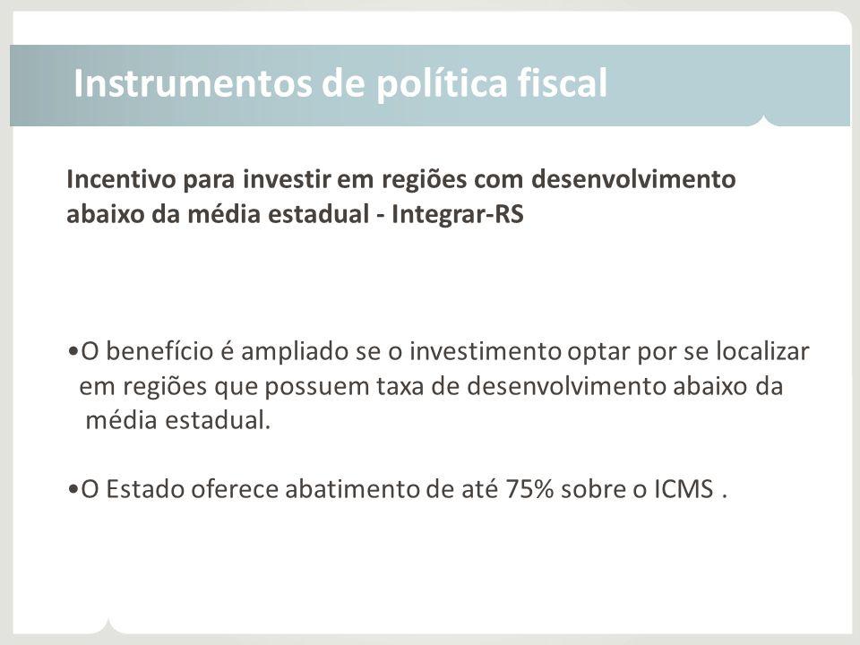Incentivo para investir em regiões com desenvolvimento abaixo da média estadual - Integrar-RS •O benefício é ampliado se o investimento optar por se l