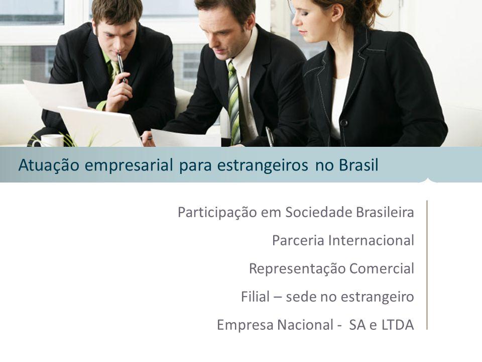 Participação em Sociedade Brasileira Parceria Internacional Representação Comercial Filial – sede no estrangeiro Empresa Nacional - SA e LTDA Atuação