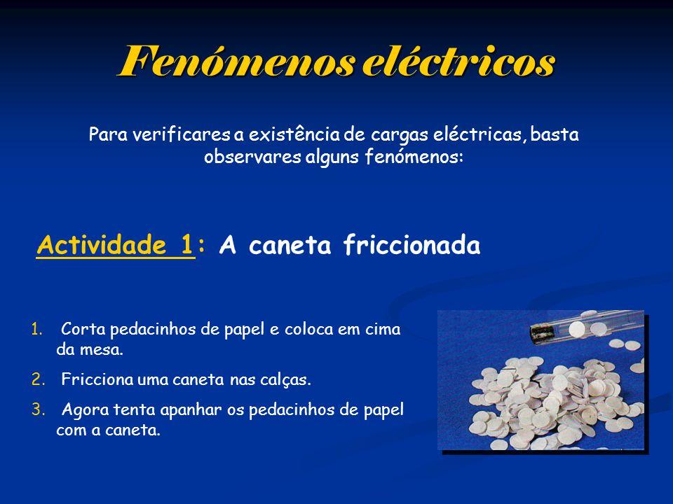 Para verificares a existência de cargas eléctricas, basta observares alguns fenómenos: 1.