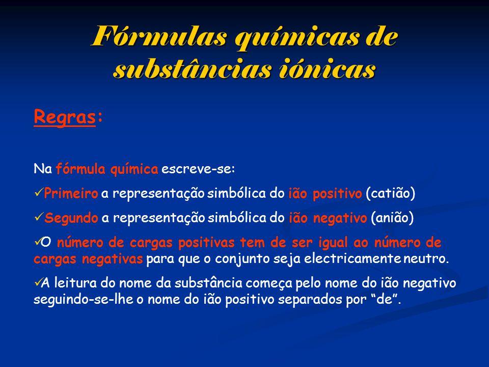 Fórmulas químicas de substâncias iónicas Regras: Na fórmula química escreve-se:  Primeiro a representação simbólica do ião positivo (catião)  Segundo a representação simbólica do ião negativo (anião)  O número de cargas positivas tem de ser igual ao número de cargas negativas para que o conjunto seja electricamente neutro.