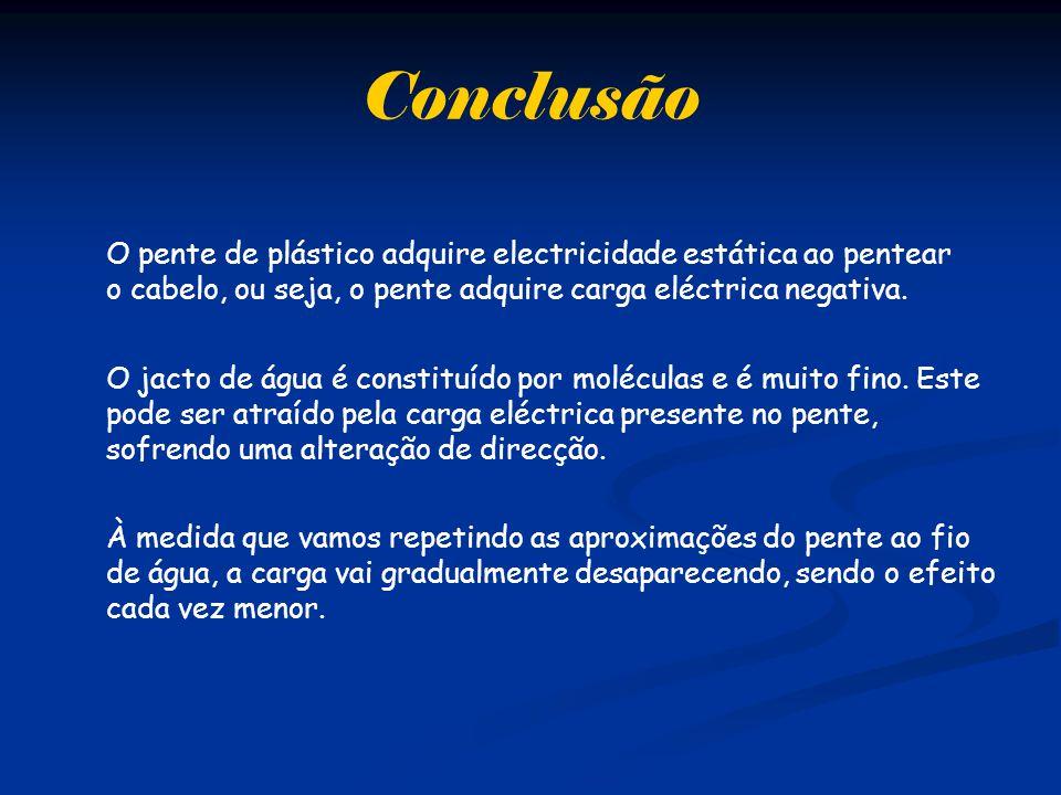 Conclusão O pente de plástico adquire electricidade estática ao pentear o cabelo, ou seja, o pente adquire carga eléctrica negativa.