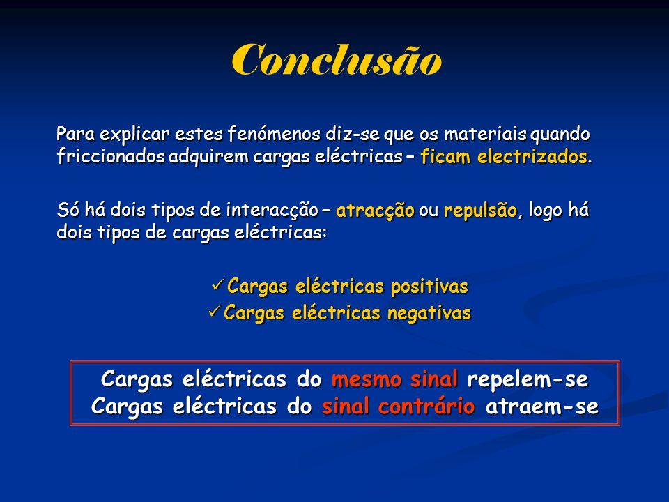 Conclusão Para explicar estes fenómenos diz-se que os materiais quando friccionados adquirem cargas eléctricas – ficam electrizados.