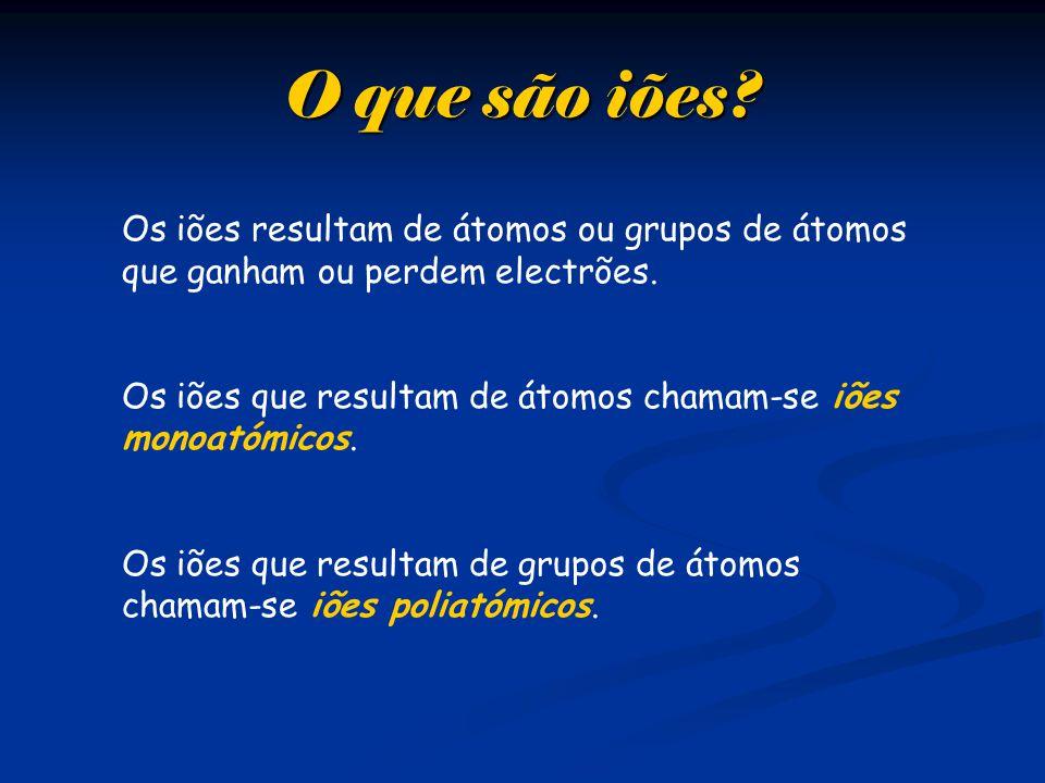 Os iões resultam de átomos ou grupos de átomos que ganham ou perdem electrões.