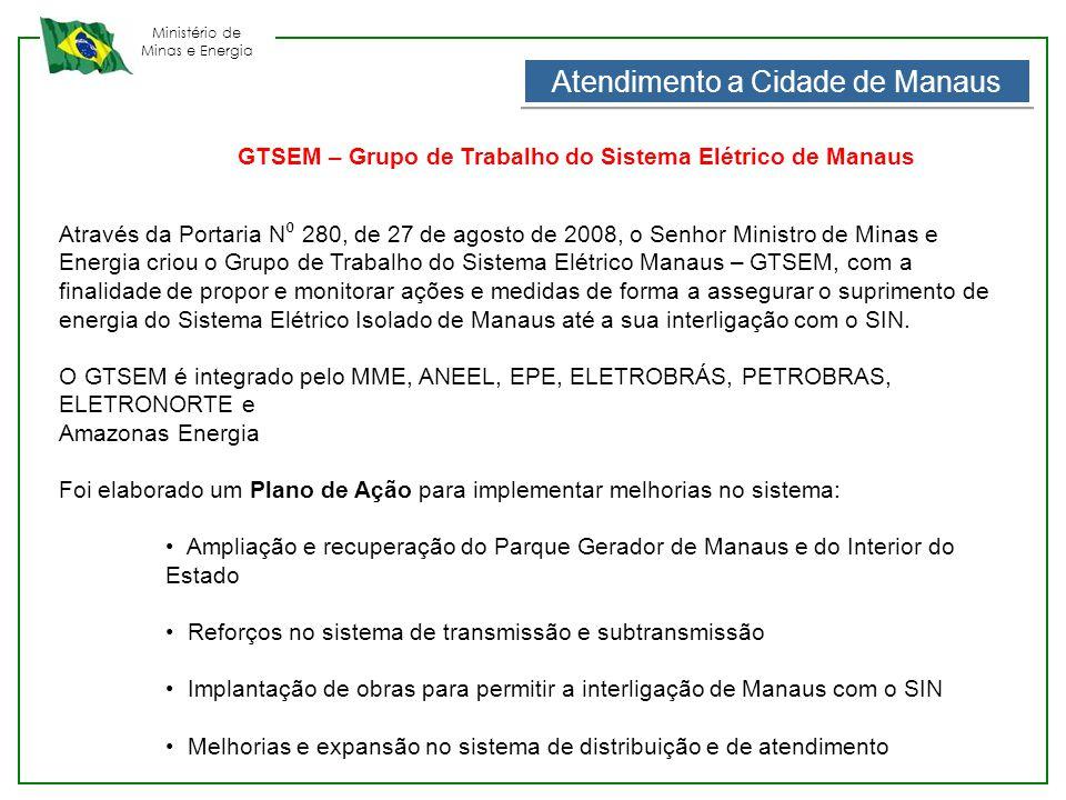 Ministério de Minas e Energia Atendimento a Cidade de Manaus Através da Portaria N ⁰ 280, de 27 de agosto de 2008, o Senhor Ministro de Minas e Energi