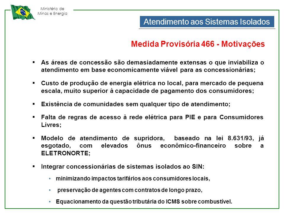 Ministério de Minas e Energia Atendimento aos Sistemas Isolados Medida Provisória 466 - Motivações  As áreas de concessão são demasiadamente extensas