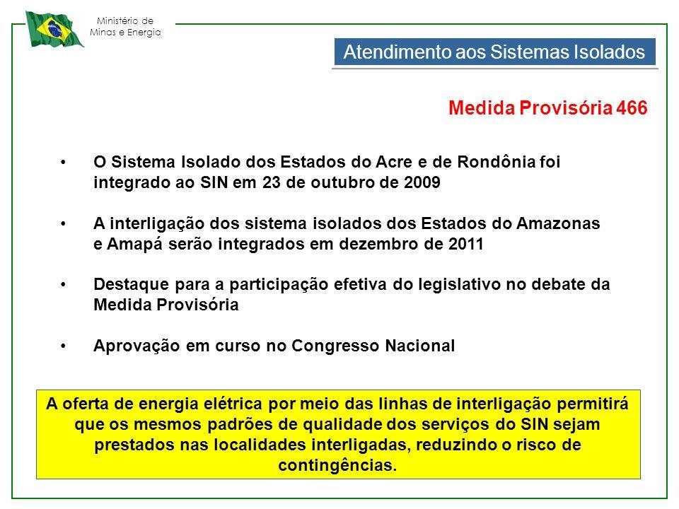Ministério de Minas e Energia •O Sistema Isolado dos Estados do Acre e de Rondônia foi integrado ao SIN em 23 de outubro de 2009 •A interligação dos s