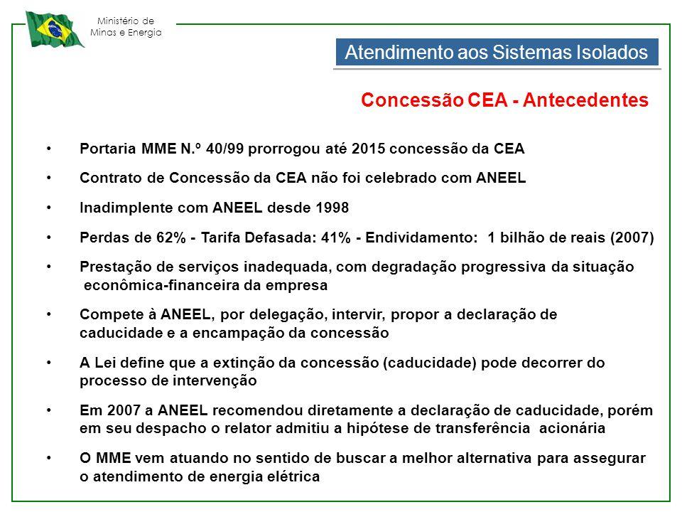 Ministério de Minas e Energia Atendimento aos Sistemas Isolados Concessão CEA - Antecedentes •Portaria MME N.º 40/99 prorrogou até 2015 concessão da C