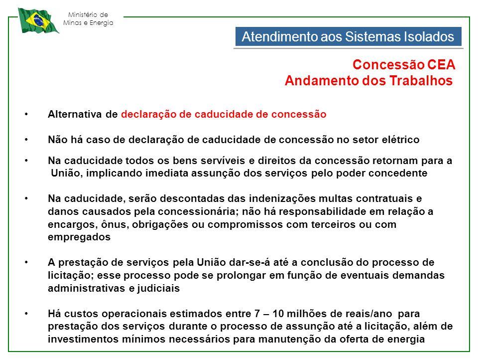 Ministério de Minas e Energia Atendimento aos Sistemas Isolados Concessão CEA Andamento dos Trabalhos •Alternativa de declaração de caducidade de conc