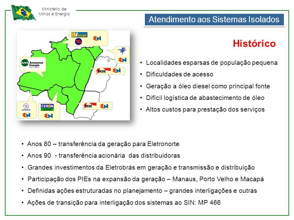 Ministério de Minas e Energia Atendimento aos Sistemas Isolados • Localidades esparsas de população pequena • Dificuldades de acesso • Geração a óleo