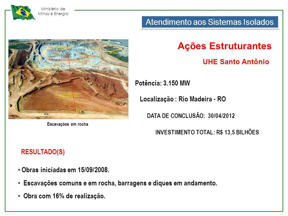 Ministério de Minas e Energia Escavações em rocha RESULTADO(S) • Obras iniciadas em 15/09/2008. • Escavações comuns e em rocha, barragens e diques em