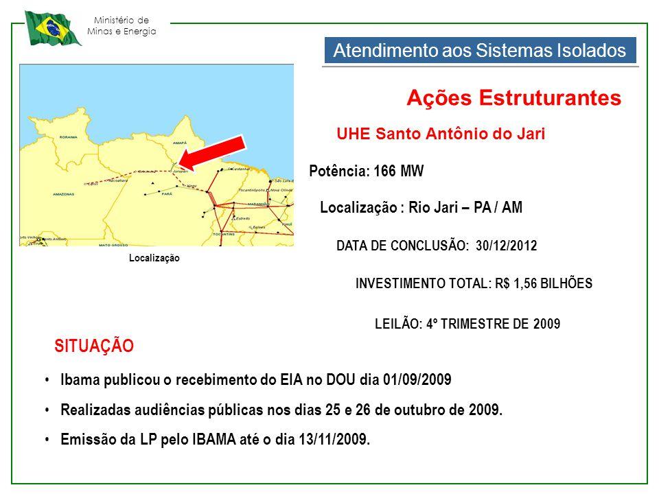 Ministério de Minas e Energia • Ibama publicou o recebimento do EIA no DOU dia 01/09/2009 • Realizadas audiências públicas nos dias 25 e 26 de outubro