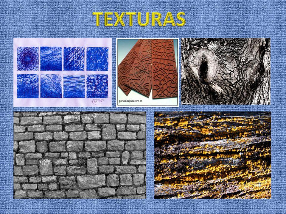 As TEXTURAS podem ser CASUAIS (naturais) ou INTENCIONAIS (artificiais) São TEXTURAS CASUAIS as texturas naturais, e, nos objectos, as texturas que emb