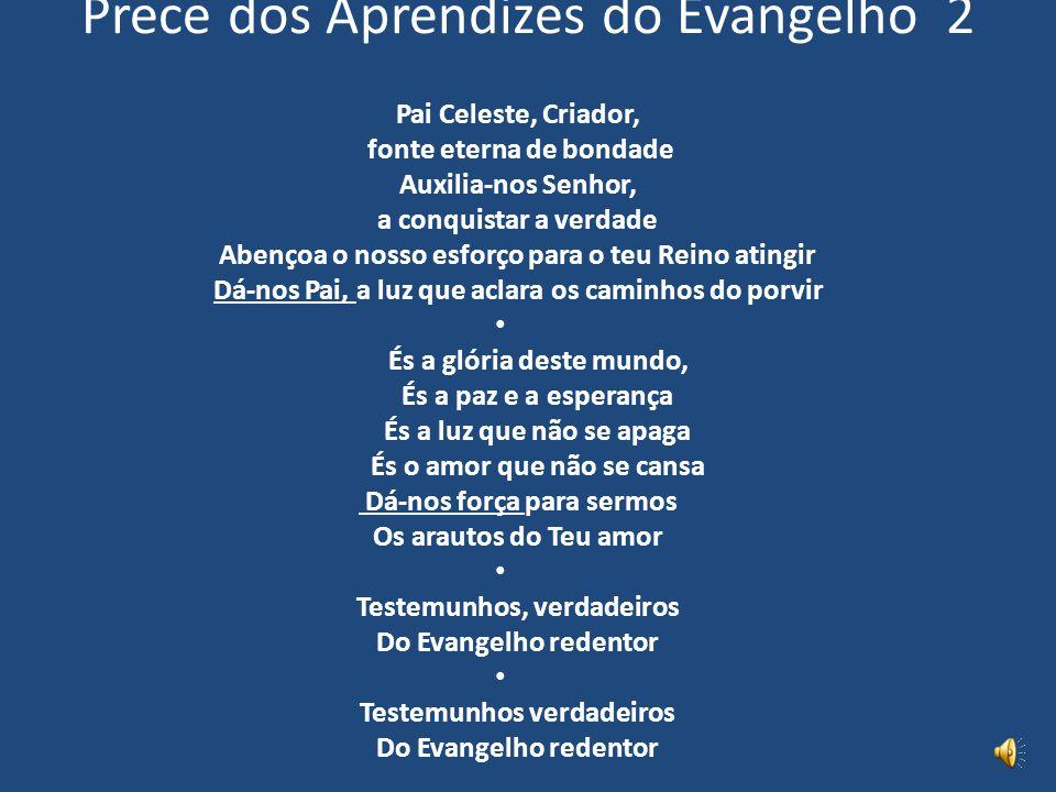 Prece dos Aprendizes do Evangelho 2 Pai Celeste, Criador, fonte eterna de bondade Auxilia-nos Senhor, a conquistar a verdade Abençoa o nosso esforço p