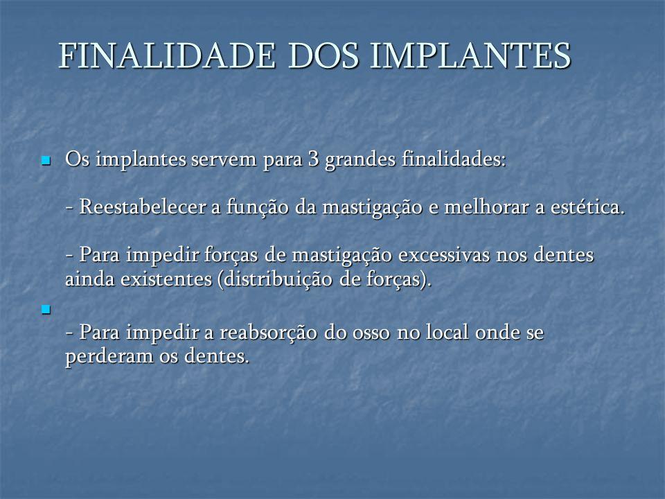 FINALIDADE DOS IMPLANTES FINALIDADE DOS IMPLANTES  Os implantes servem para 3 grandes finalidades: - Reestabelecer a função da mastigação e melhorar