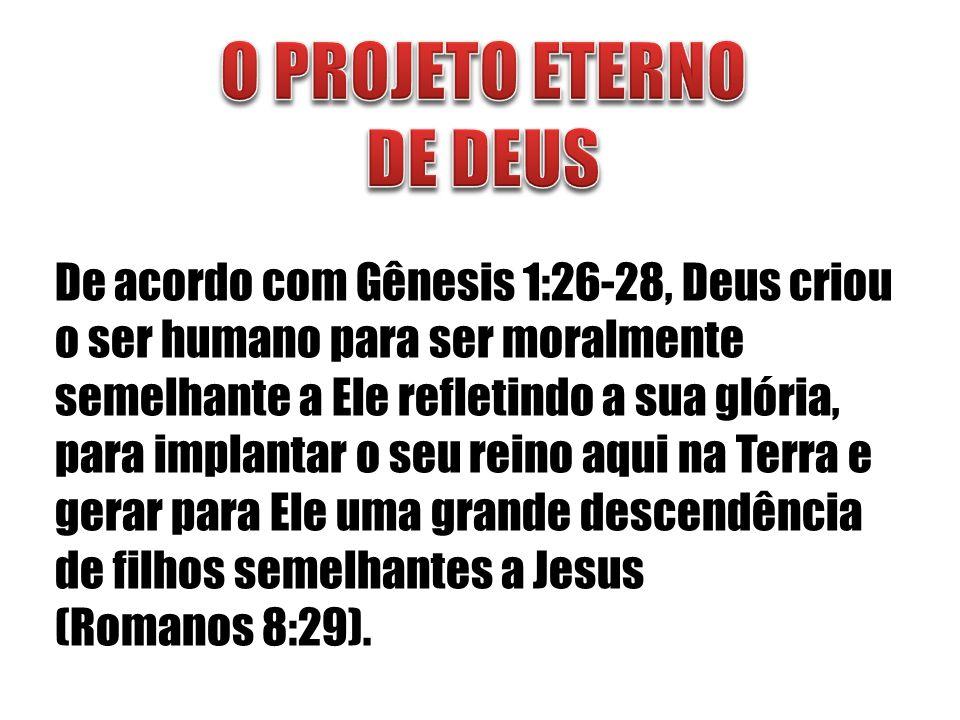 De acordo com Gênesis 1:26-28, Deus criou o ser humano para ser moralmente semelhante a Ele refletindo a sua glória, para implantar o seu reino aqui n