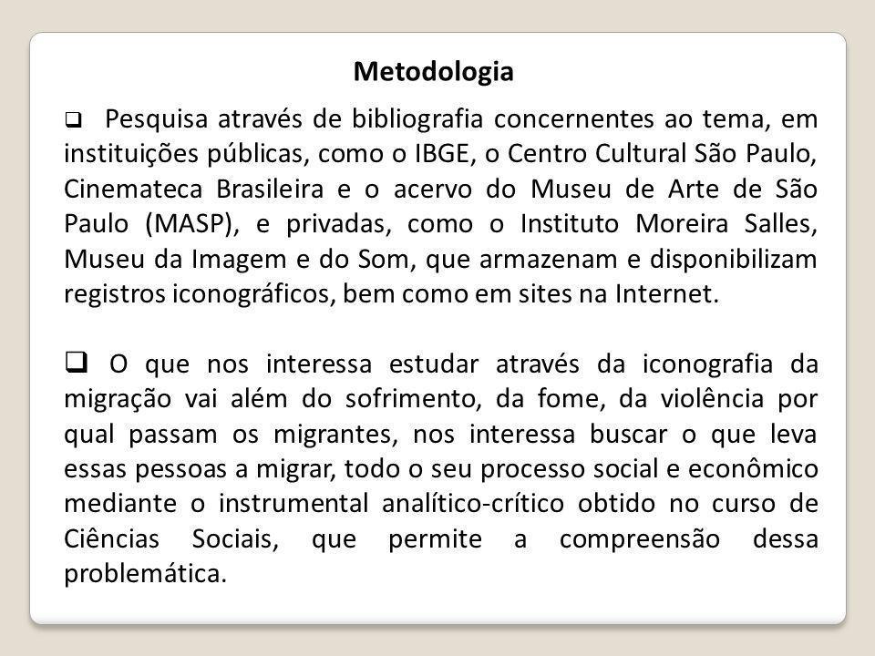 Metodologia  Pesquisa através de bibliografia concernentes ao tema, em instituições públicas, como o IBGE, o Centro Cultural São Paulo, Cinemateca Br