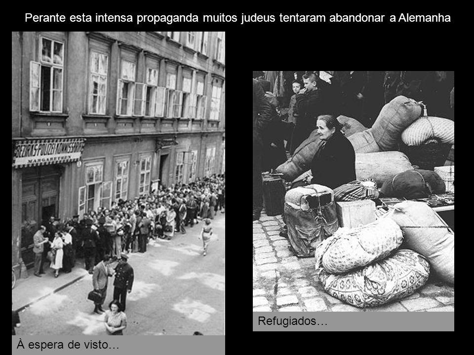 Perante esta intensa propaganda muitos judeus tentaram abandonar a Alemanha À espera de visto… Refugiados…