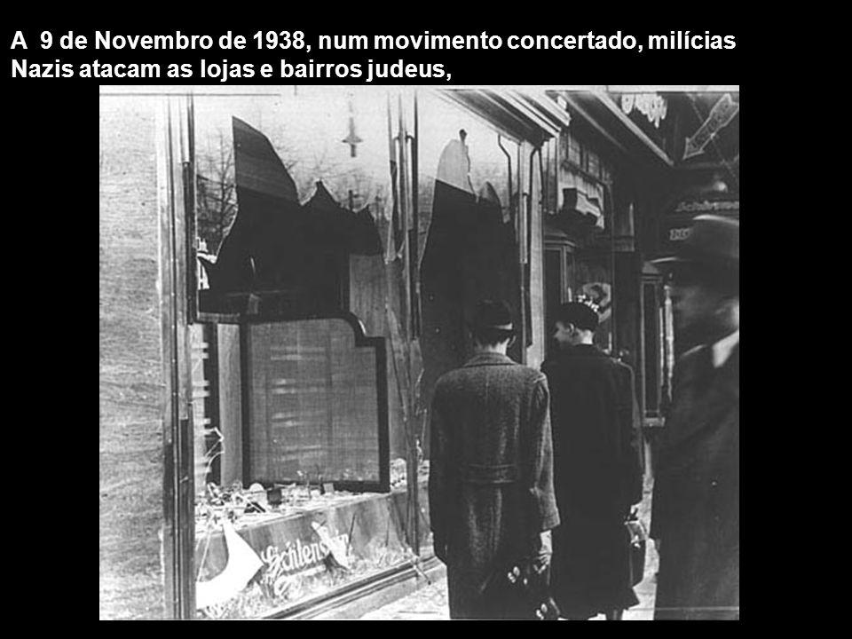 A 9 de Novembro de 1938, num movimento concertado, milícias Nazis atacam as lojas e bairros judeus,