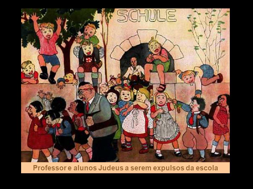 Professor e alunos Judeus a serem expulsos da escola