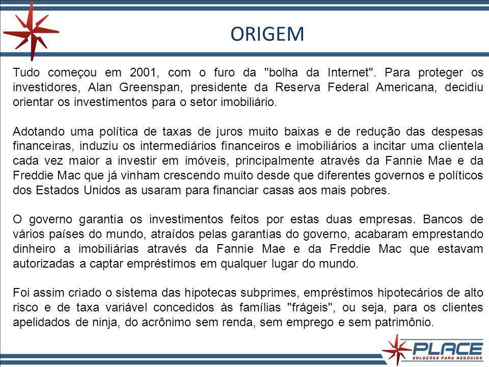 ORIGEM Tudo começou em 2001, com o furo da bolha da Internet .