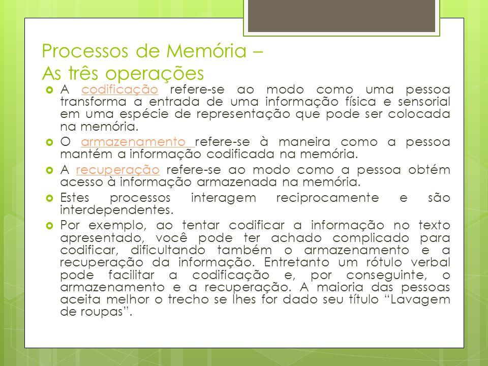 Processos de Memória – As três operações  A codificação refere-se ao modo como uma pessoa transforma a entrada de uma informação física e sensorial e