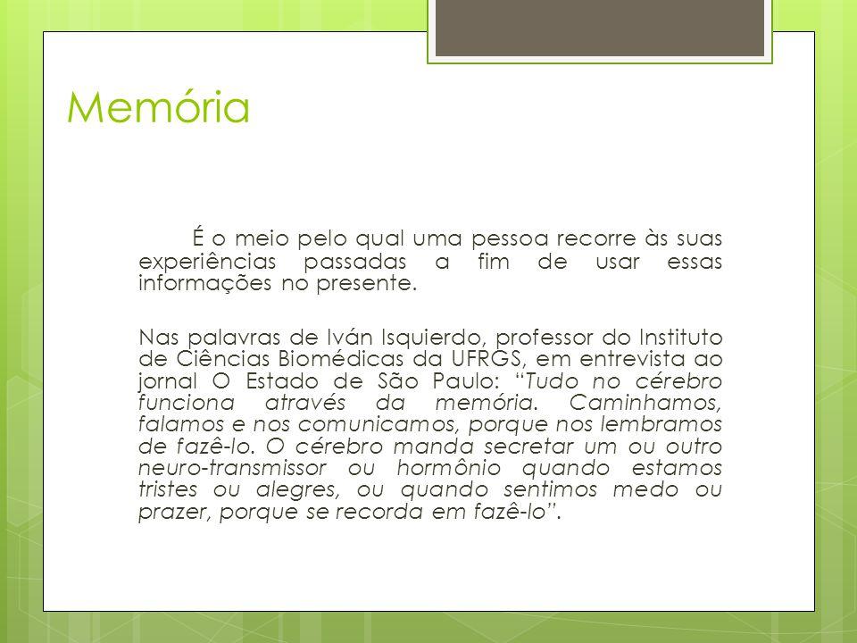 Memória É o meio pelo qual uma pessoa recorre às suas experiências passadas a fim de usar essas informações no presente. Nas palavras de Iván Isquierd
