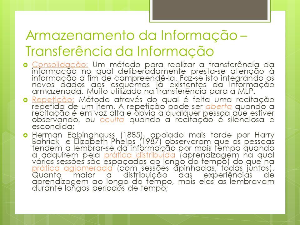 Armazenamento da Informação – Transferência da Informação  Consolidação: Um método para realizar a transferência da informação no qual deliberadament