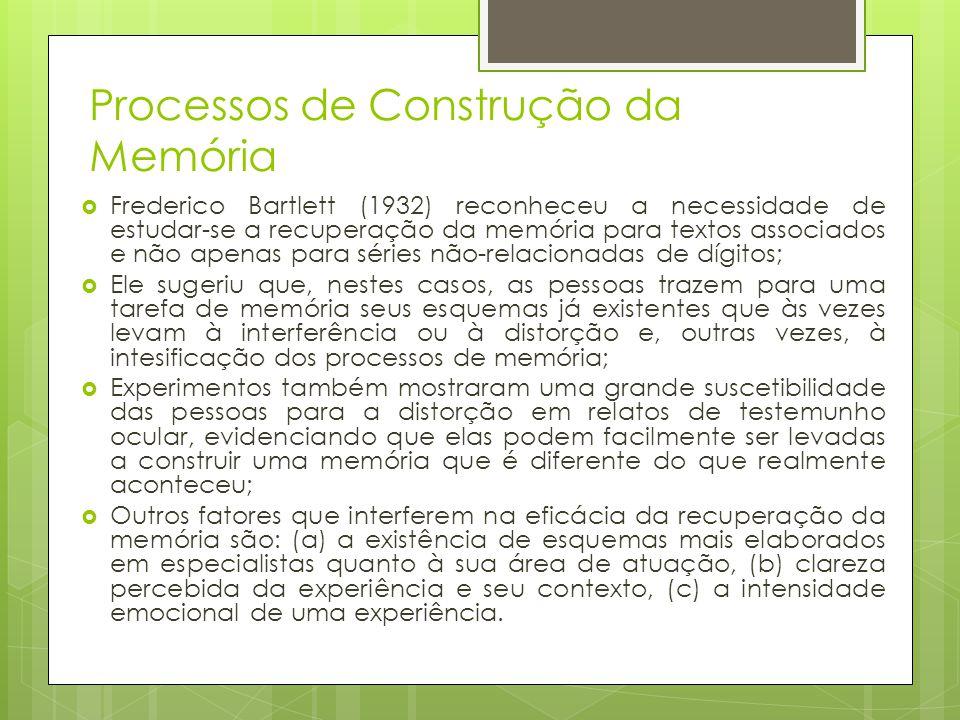 Processos de Construção da Memória  Frederico Bartlett (1932) reconheceu a necessidade de estudar-se a recuperação da memória para textos associados