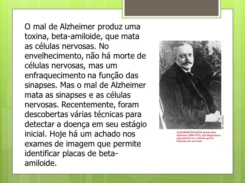 O mal de Alzheimer produz uma toxina, beta-amiloide, que mata as células nervosas. No envelhecimento, não há morte de células nervosas, mas um enfraqu