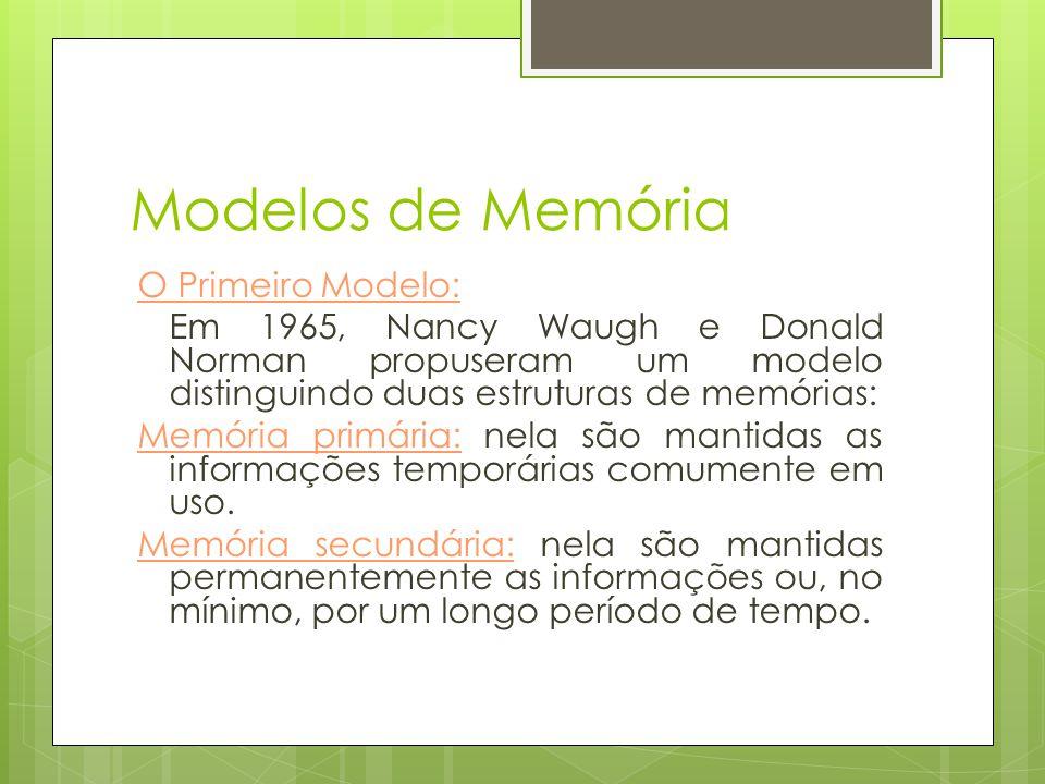 Modelos de Memória O Modelo Tradicional:  Em 1968, Richard Atkinson e Richard Shiffin apresentaram um metáfora alternativa que conceituava a memória em termos de três armazenamentos de memória: armazenamento sensorial, armazenamento de curto prazo e armazenamento de longo prazo.