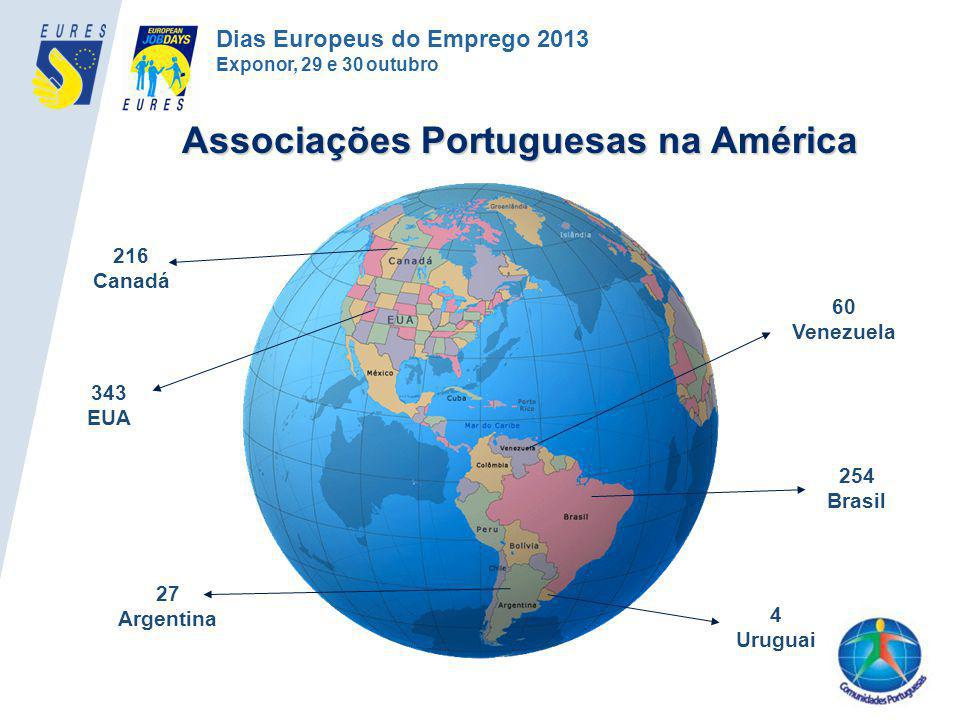 254 Brasil 216 Canadá 343 EUA 60 Venezuela 27 Argentina 4 Uruguai Associações Portuguesas na América Dias Europeus do Emprego 2013 Exponor, 29 e 30 ou