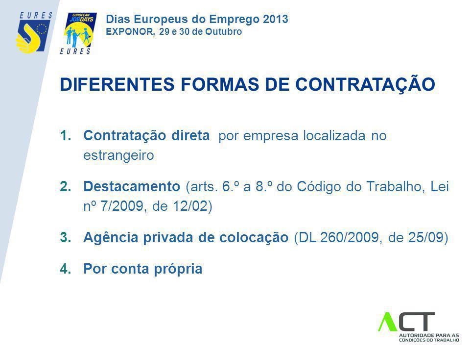 DIFERENTES FORMAS DE CONTRATAÇÃO 1.Contratação direta por empresa localizada no estrangeiro 2.Destacamento (arts. 6.º a 8.º do Código do Trabalho, Lei