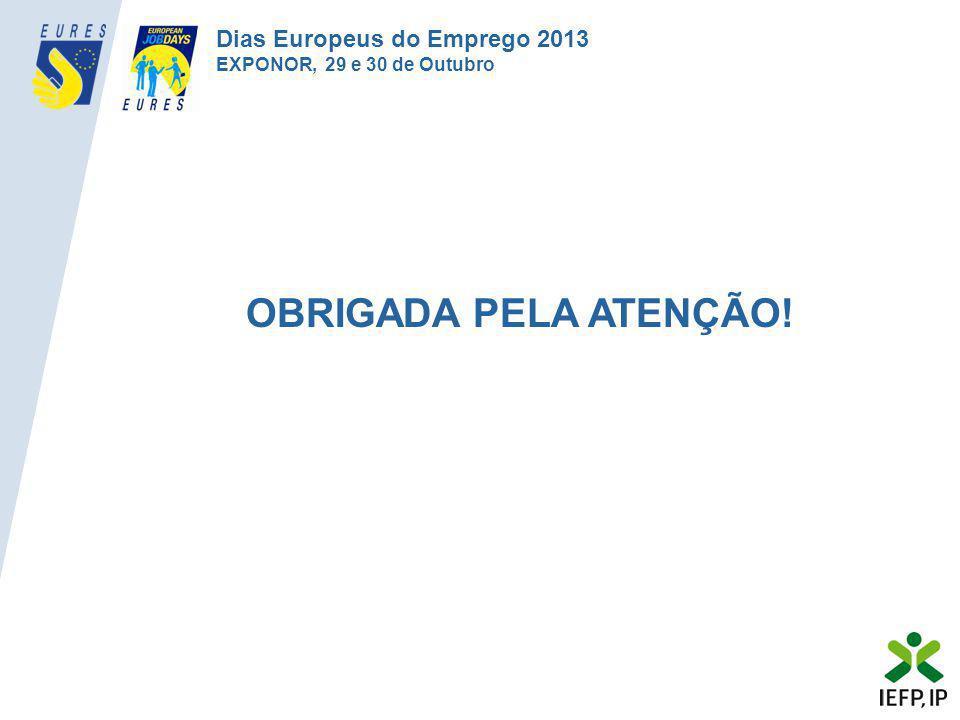OBRIGADA PELA ATENÇÃO! Dias Europeus do Emprego 2013 EXPONOR, 29 e 30 de Outubro