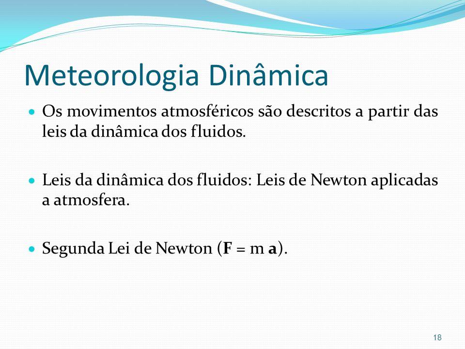 Meteorologia Dinâmica  Os movimentos atmosféricos são descritos a partir das leis da dinâmica dos fluidos.