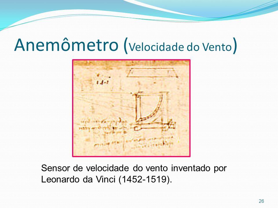 Anemômetro ( Velocidade do Vento ) 26 Sensor de velocidade do vento inventado por Leonardo da Vinci (1452-1519).