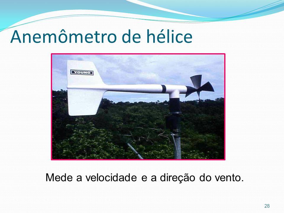 Anemômetro de hélice 28 Mede a velocidade e a direção do vento.