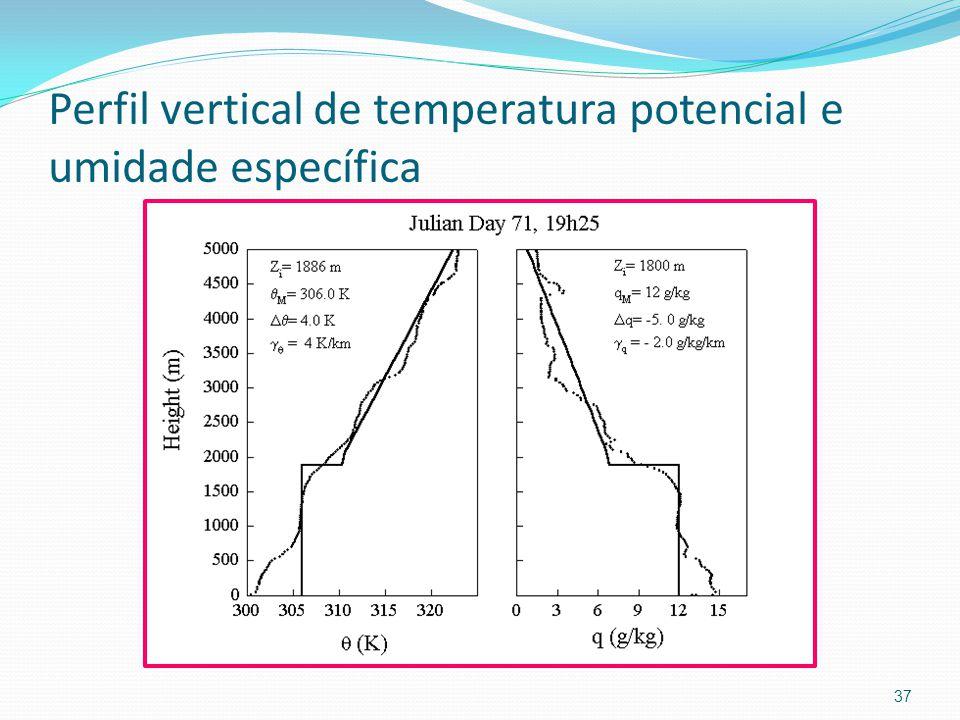 Perfil vertical de temperatura potencial e umidade específica 37