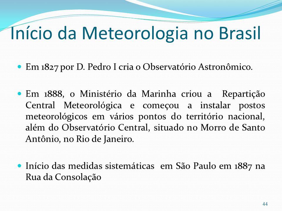 Início da Meteorologia no Brasil  Em 1827 por D.Pedro I cria o Observatório Astronômico.