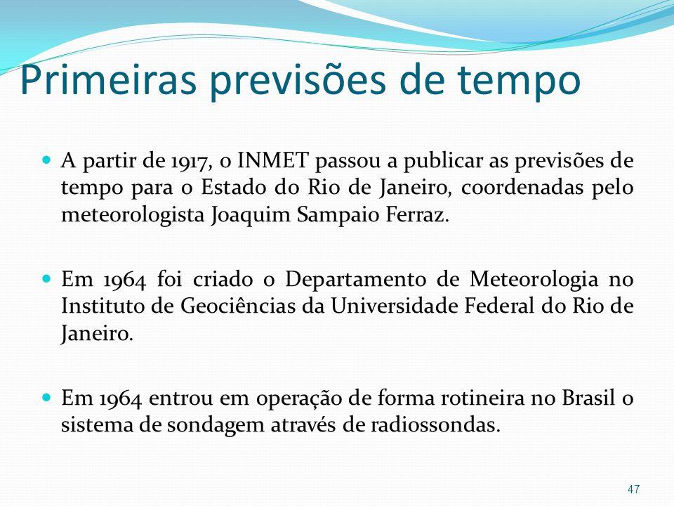 Primeiras previsões de tempo  A partir de 1917, o INMET passou a publicar as previsões de tempo para o Estado do Rio de Janeiro, coordenadas pelo meteorologista Joaquim Sampaio Ferraz.