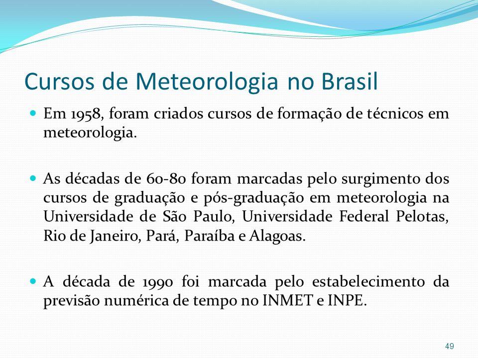 Cursos de Meteorologia no Brasil  Em 1958, foram criados cursos de formação de técnicos em meteorologia.