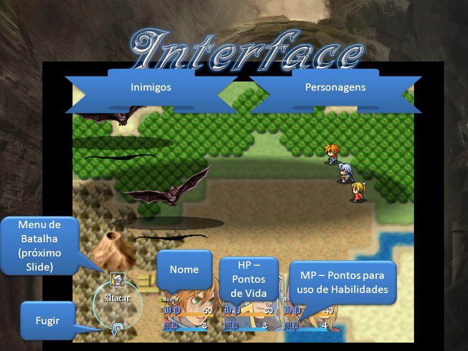 Inimigos Personagens Menu de Batalha (próximo Slide) Fugir Nome HP – Pontos de Vida MP – Pontos para uso de Habilidades